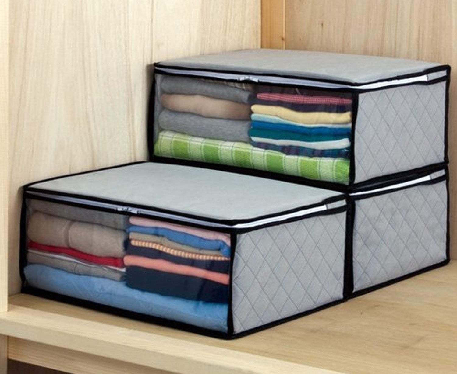 """These have clear windows so you can see exactly what's packed in each one. Promising review: """"I bought these to store sheets in my closet. These storage bags are well made and durable. I was able to fit two sets of queen-size sheet sets into each of them with room to spare. I like that they are breathable, stackable, and keep dust off your items when not in use. This zippers work well and are high quality. Great especially for sheets, blankets, and clothes, I would recommend them!"""" —S. M. G.Get a three-pack from Amazon for $14.98."""