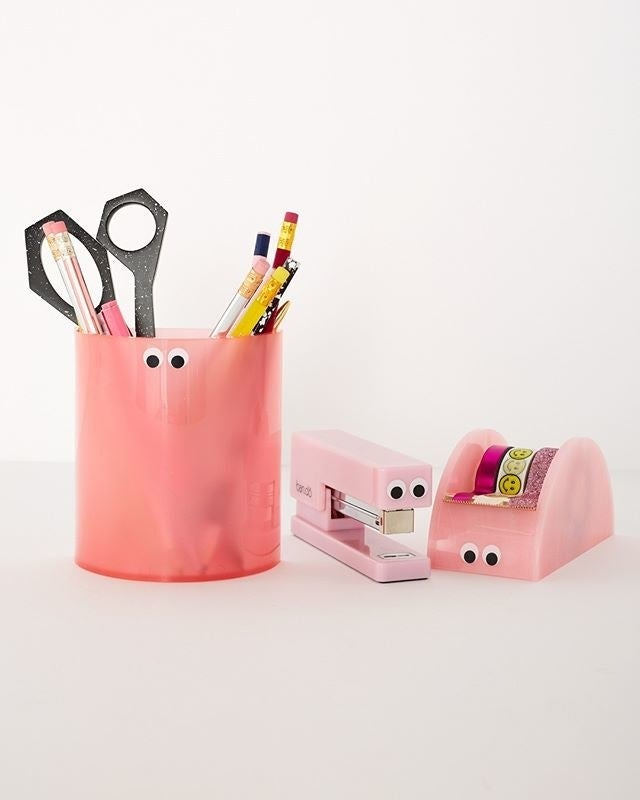 Get the tape dispenser from Ban.do or Amazon for $16, the pencil cup from Ban.do or Amazon for $12, and stapler from Ban.do or Amazon for $16.