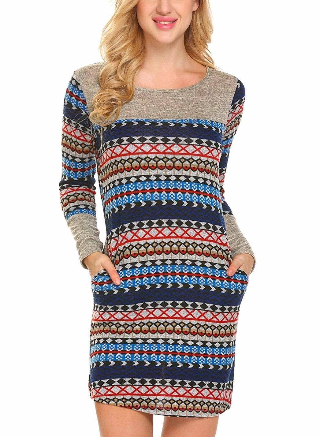 """Promising review: """"I have every print these dresses come in. Love them with leggings, they are a very comfy outfit. It's long enough to cover my backside, it's not as short as it seems in the picture, and I have a long torso. Love these dresses! Plus, they have pockets, which I'm happy about."""" —KatyPrice: $7.99+ (available in five colors, and sizes S–2XL)"""