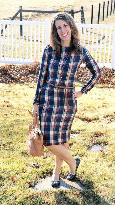 cef2f30033b8 A plaid pencil dress with the classic autumn print to wear to work or when  you re running errands.