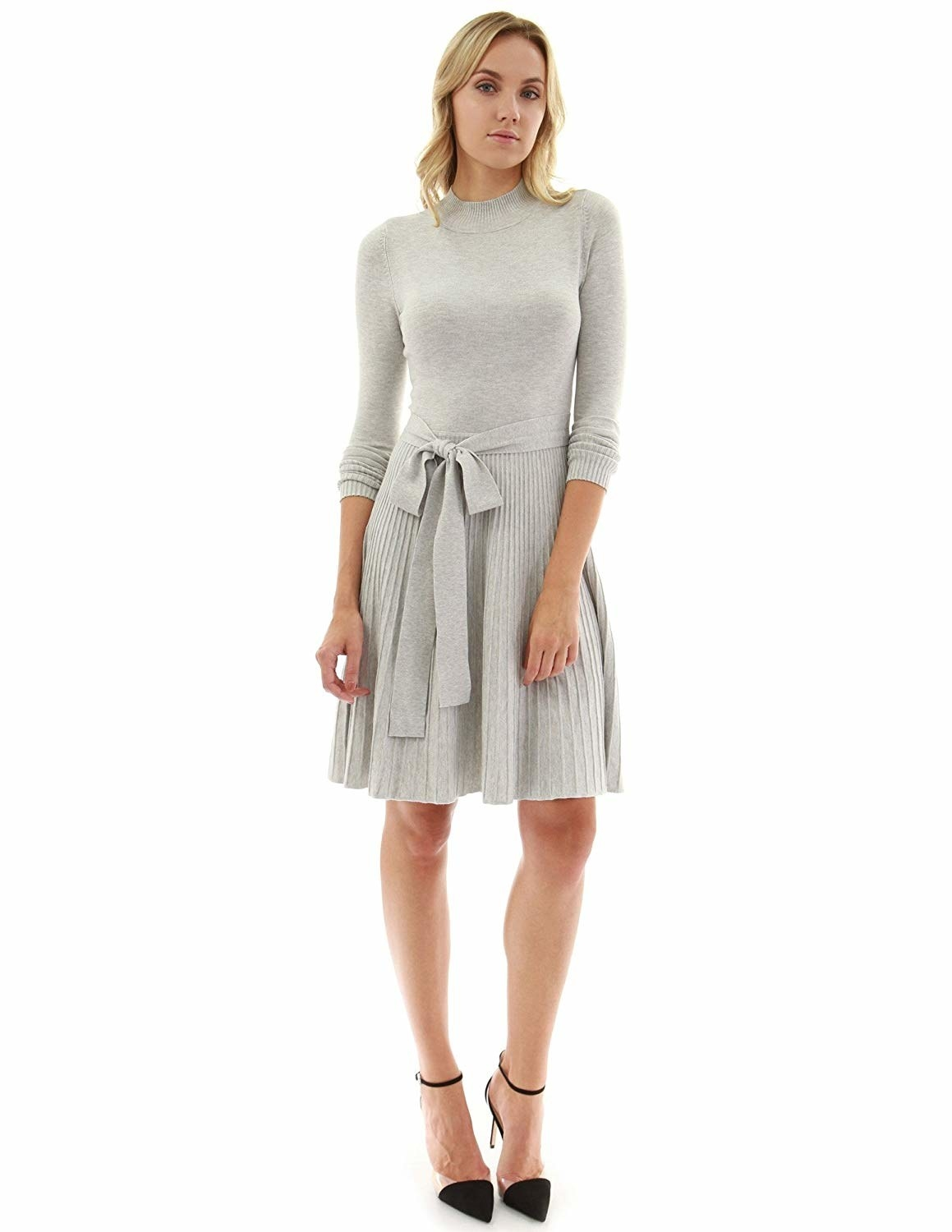ea9ecabae844b A flared sweater dress with a bow-tie accent for wearing on days you just  wanna soak in a million compliments about your excellent taste in fashion.