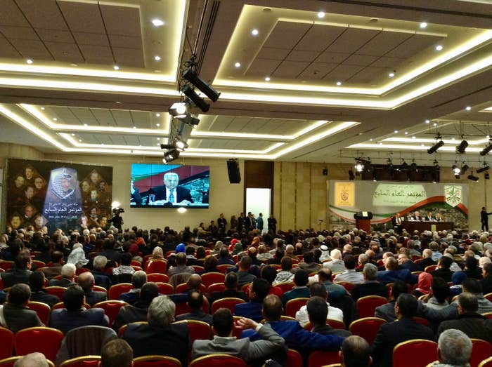Abbas addresses the Fatah Party conference in September.