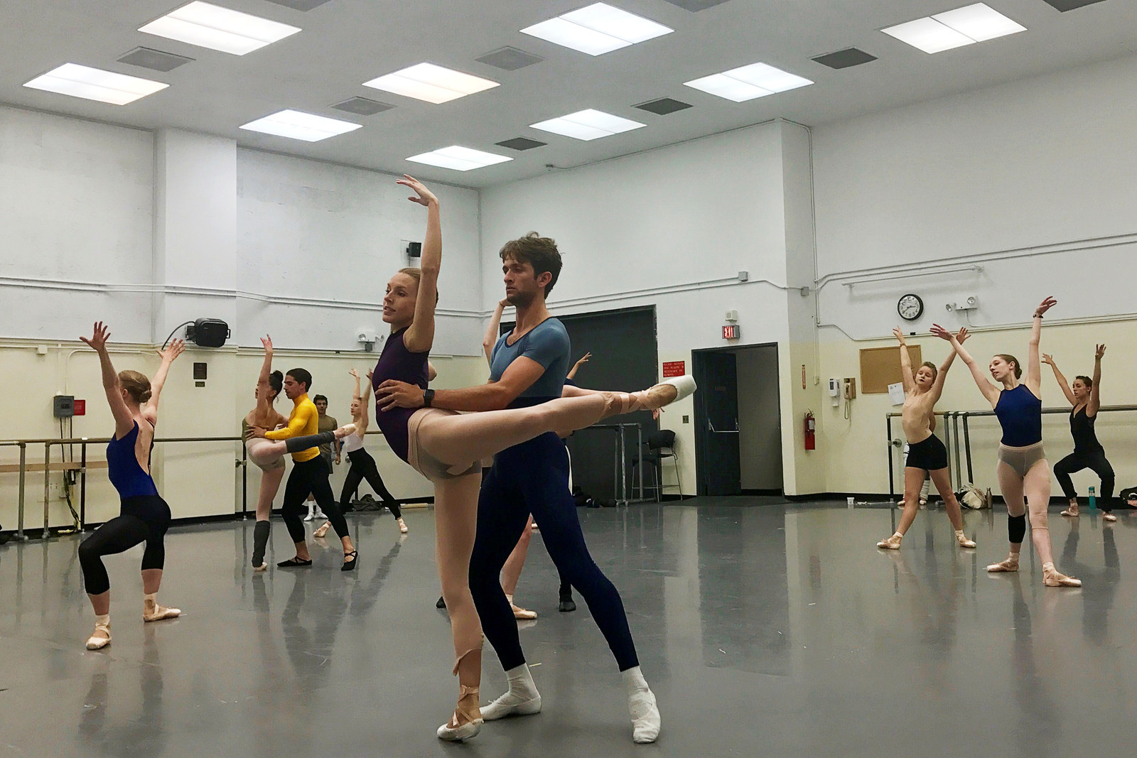 Members of the New York City Ballet rehearse before a performance at the Lincoln Center Festival, July 2017.