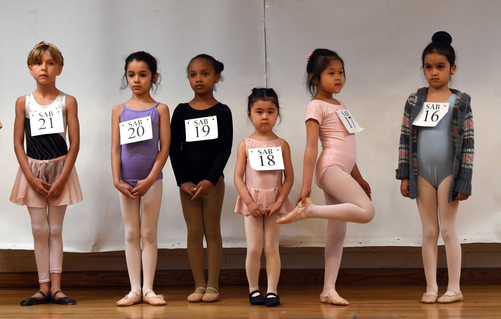 Young ballet dancers try out for the School of American Ballet Winter Term at the PS 124 Yung Wing school in New York City, April 2015.