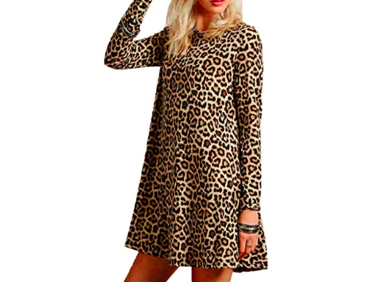 model wearing leopard print  swing dress