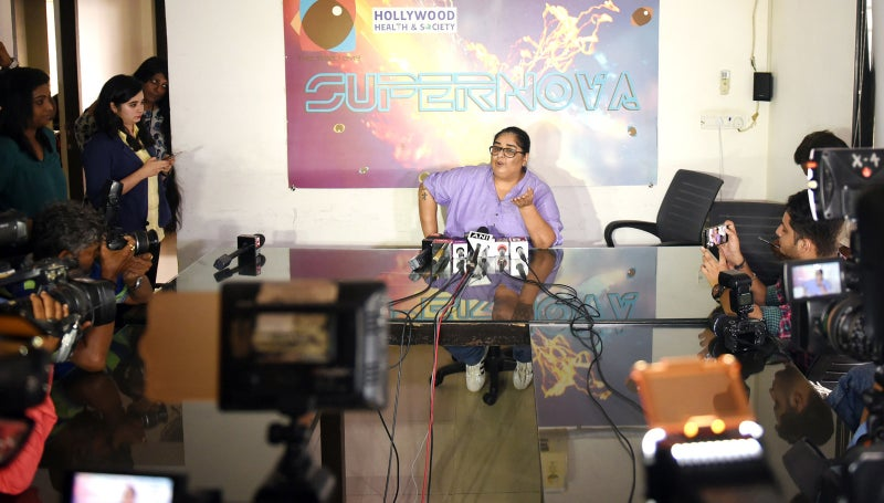 Indian Bollywood writer-producer Vinita Nanda speaks during a press conference in Mumbai.