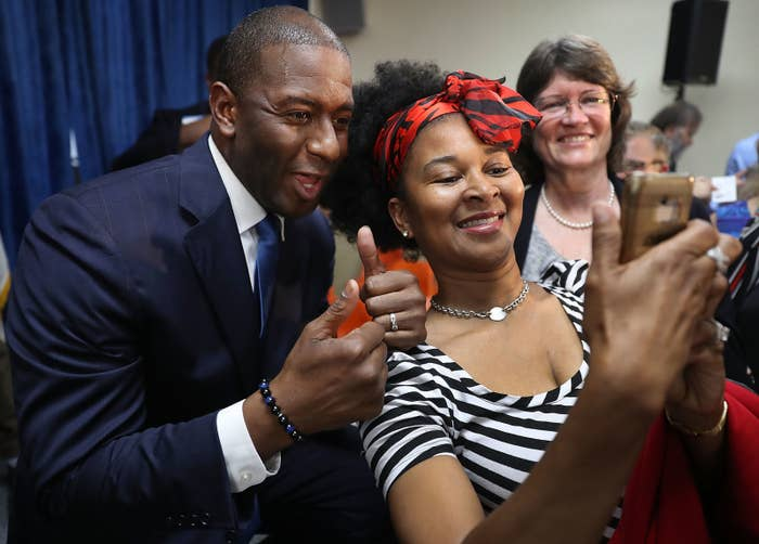 Andrew Gillum posing for a selfie at the International Union of Painters and Allied Trades on Aug. 31, 2018 in Orlando.