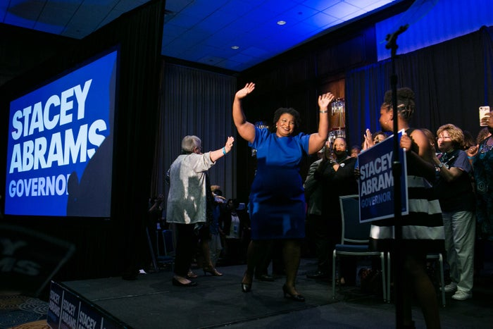Stacey Abrams declaring victory in her primary on May 22, 2018 in Atlanta, Georgia.
