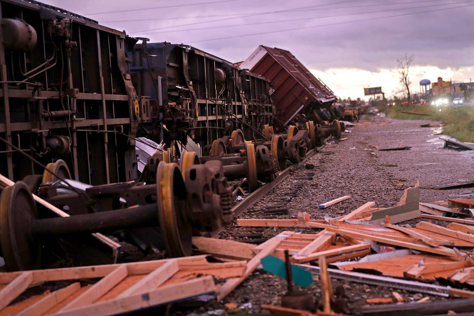 Derailed box cars are seen in the aftermath of Hurricane Michael in Panama City, Florida.