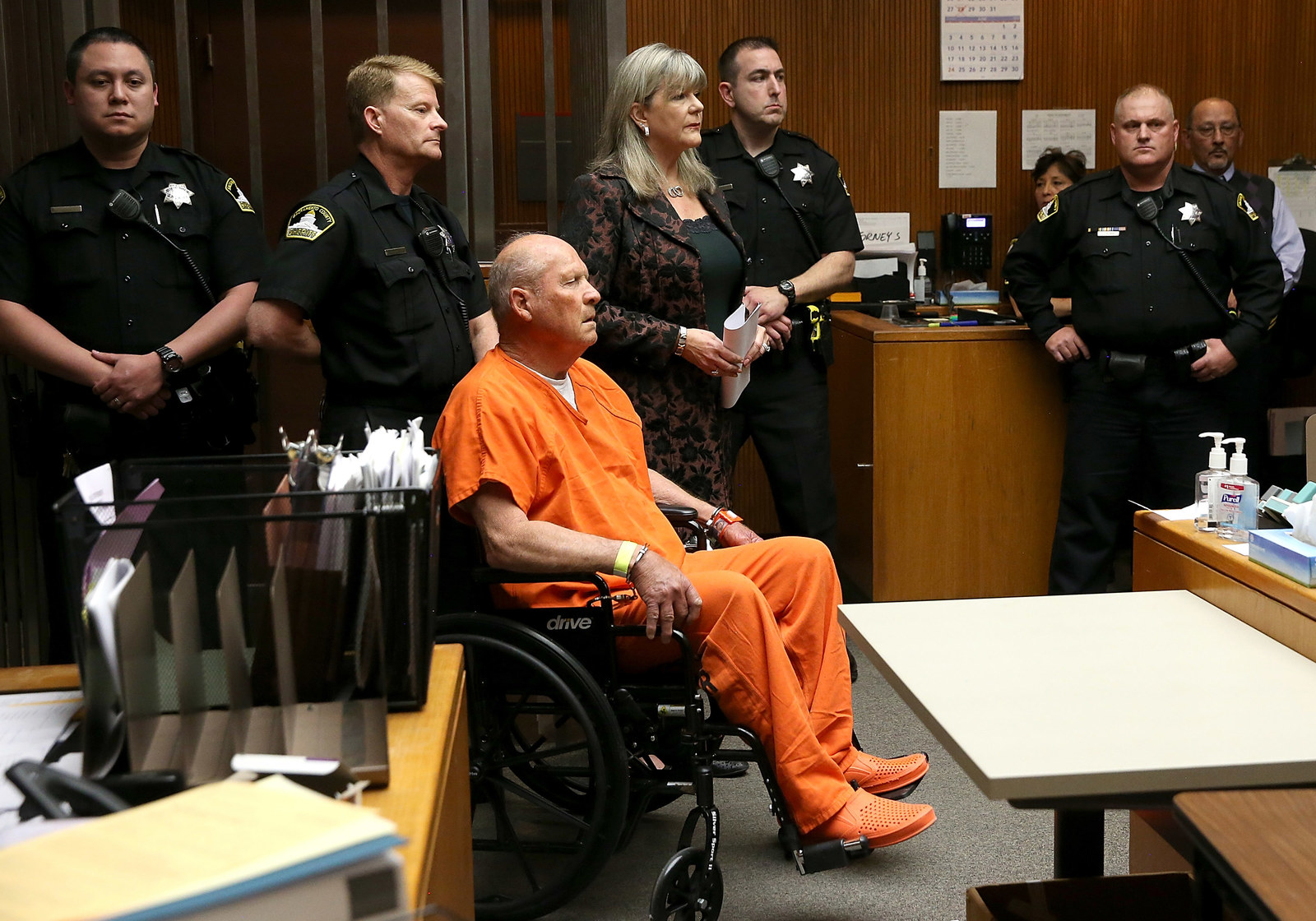 Joseph James DeAngelo, the suspected Golden State Killer, appears in court for his arraignment on April 27.