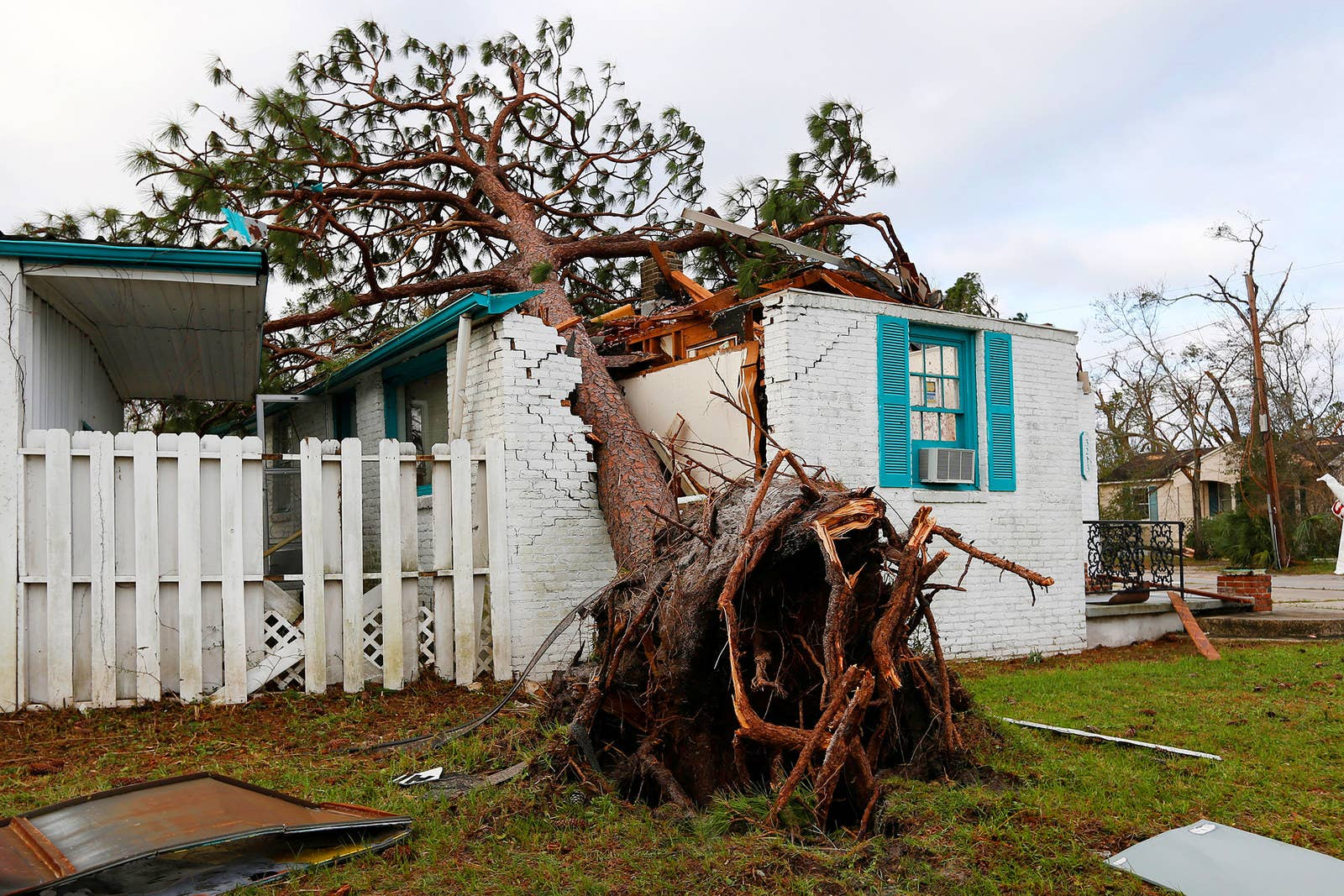 A house damaged by Hurricane Michael in Panama City, Florida.