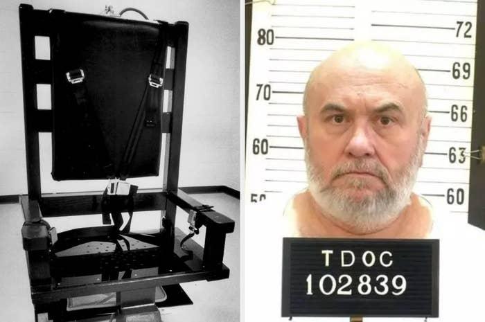 死刑囚エドモンド・ザゴースキー(右)は、この電気椅子で死ぬことを望んでいる。