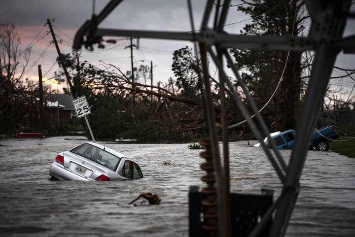 A car is caught in floodwater after Hurricane Michael, then a Category 4 storm, made landfall along the Florida Panhandle on Oct. 10.