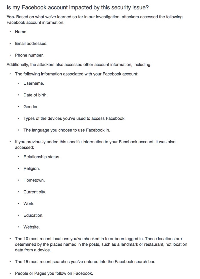 Some 14 million Facebook users whose accounts were accessed by attackers will see this page when they check to see if they've been affected.