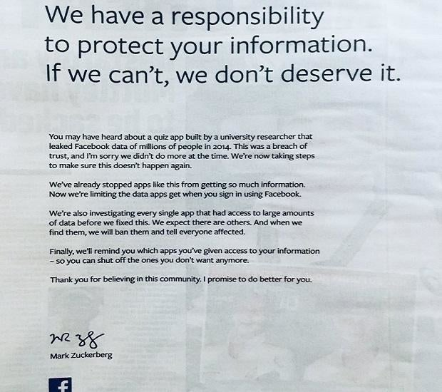 A full-page newspaper ad placed by Zuckerberg in March 2018.