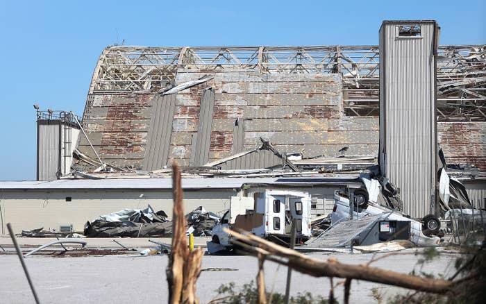 A damaged airplane hangar at Tyndall Air Force Base.