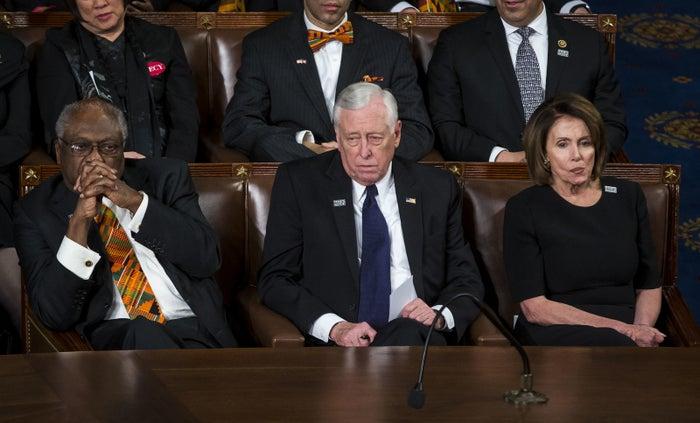 From left: Rep. Jim Clyburn, Minority Whip Steny Hoyer, and Minority Leader Nancy Pelosi.