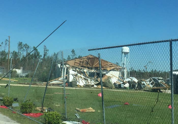 A damaged structure at the Gulf Correctional Institution facility.