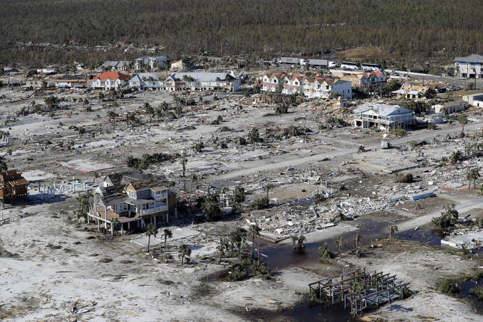 An aerial view of Mexico Beach after Hurricane Michael.