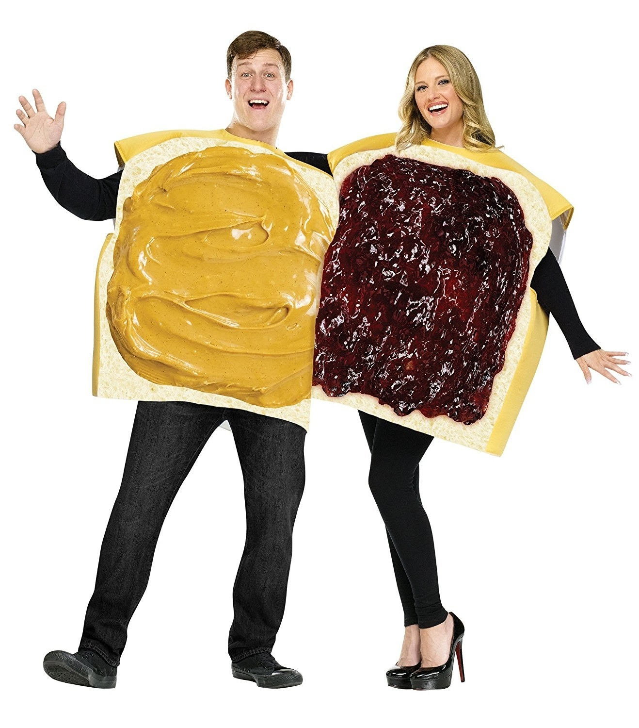 model wearing the peanut butter bread top and another model wearing the jelly side