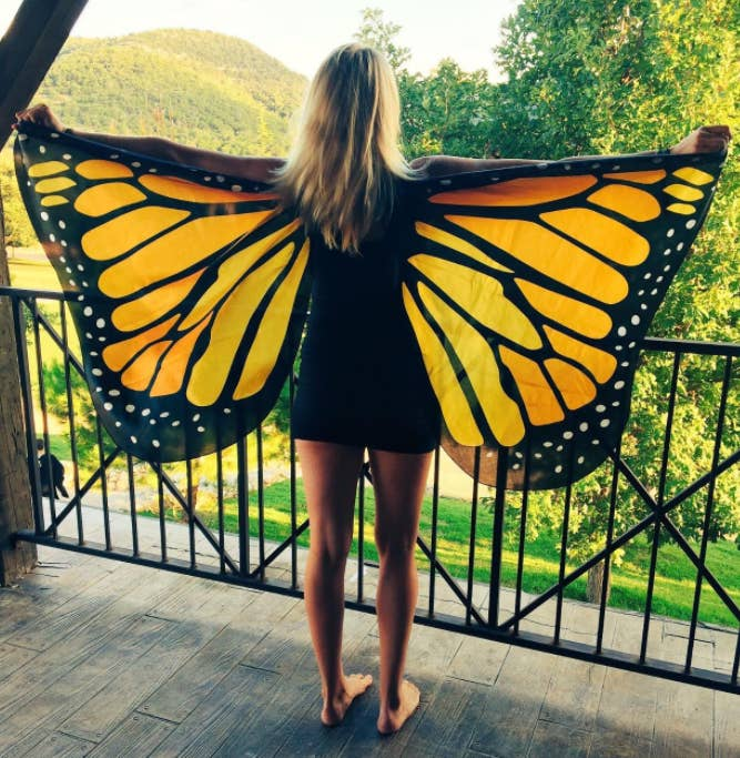 reviewer wearing large orange butterfly wings