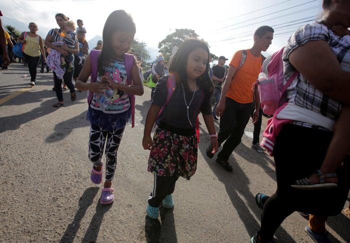Hondurans traveling in a truck after leaving Ocotepeque, Honduras.