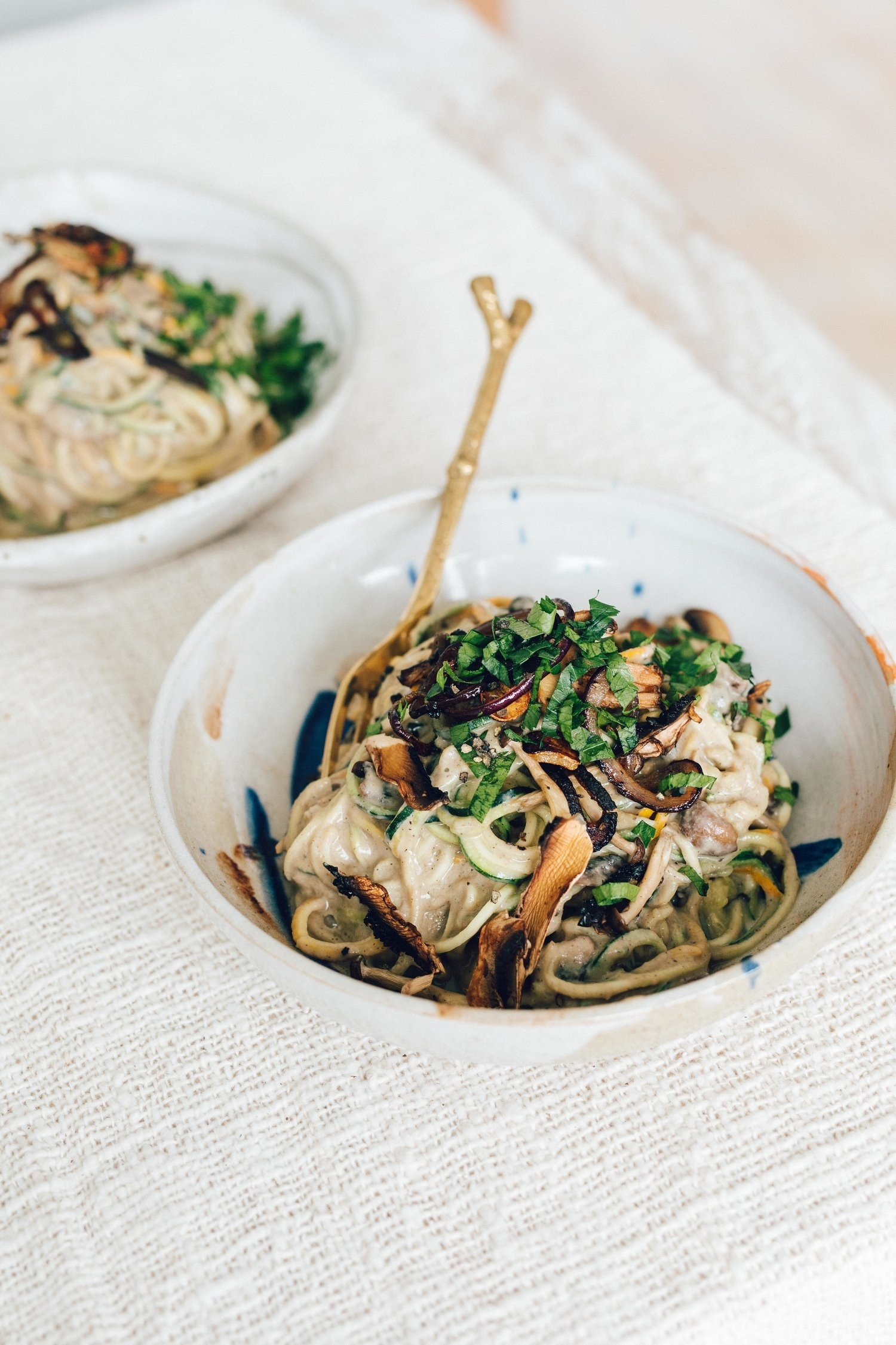 Use a variety of mushrooms like shiitake, enoki, baby bella, and creminis for a delicious umami taste and satisfying texture. Get the recipe.