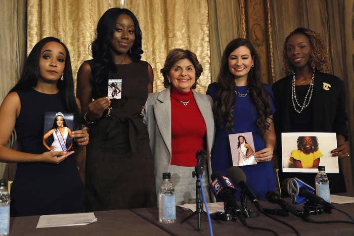 From left: Kimberly Phillips, Crissy Timpson, attorney Gloria Allred, Jeri Ward, and Brandy Palacios.