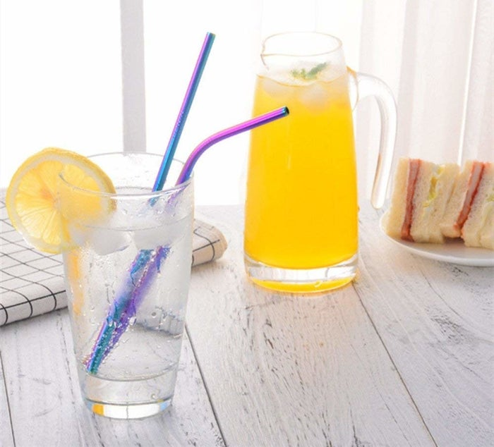 "Promising review: ""I love these so much! The colors are gorgeous, they're super sturdy, and they're as thin as plastic straws typically are. I especially love the short, bent ones, as I have a toddler, and the long bent ones, because they're almost like using a bendy straw! They're all easy to clean, and even came with two straw cleaners, which is super convenient. I'm really happy with this purchase!"" —Chloe GGet a 10-pack from Amazon for $11.97."