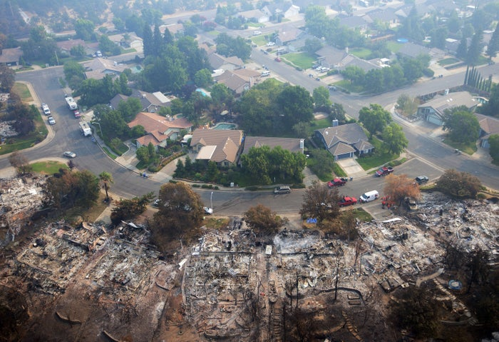 Homes destroyed by a wildfire in Redding, California.