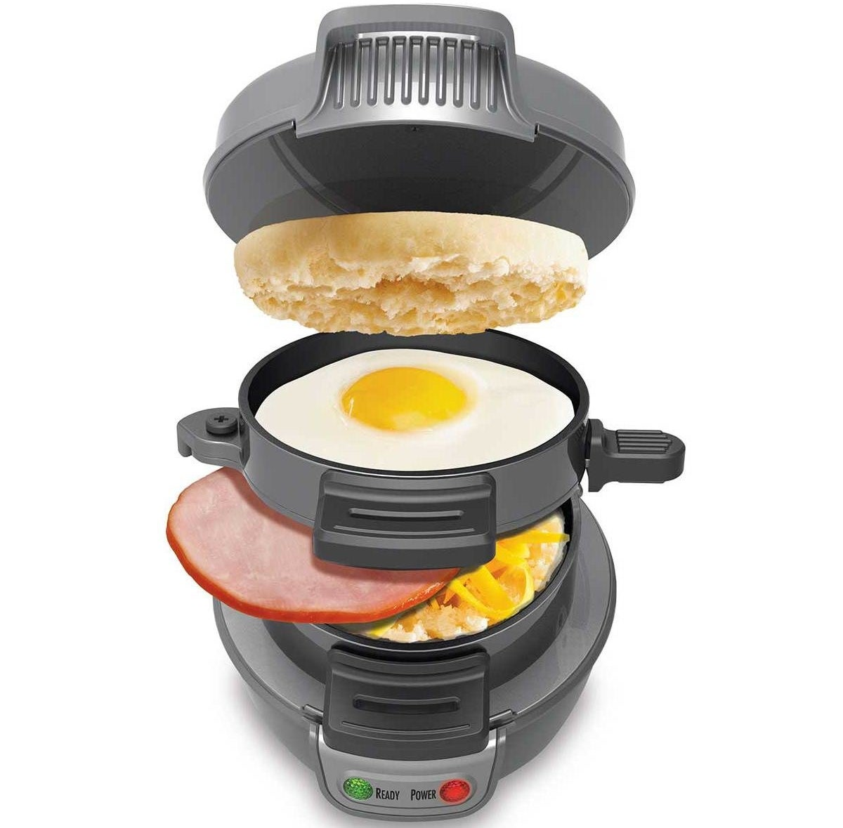 It only takes about five minutes to prepare your breakfast sandwich. You can use ingredients of your choice like eggs, cheese, and more! Just note that if using meat, it must be pre-cooked. Plus, all removable parts are dishwasher-safe!Get it from Walmart or Jet for $24.99.