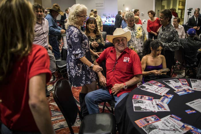 Dennis Hof greets supporters at a campaign rally and birthday party at the Pahrump Nugget on Oct. 15 in Pahrump, Nevada.