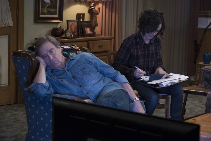 John Goodman and Sara Gilbert in the series premiere of The Conners.