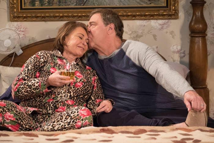 Roseanne Barr and Goodman in the Season 10 finale of Roseanne.