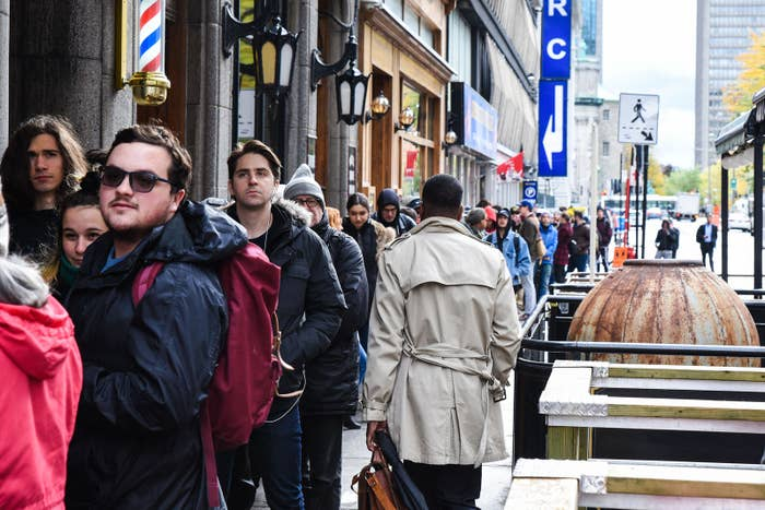 People wait in line to enter a cannabis store in Montreal, Quebec, on Oct. 17.