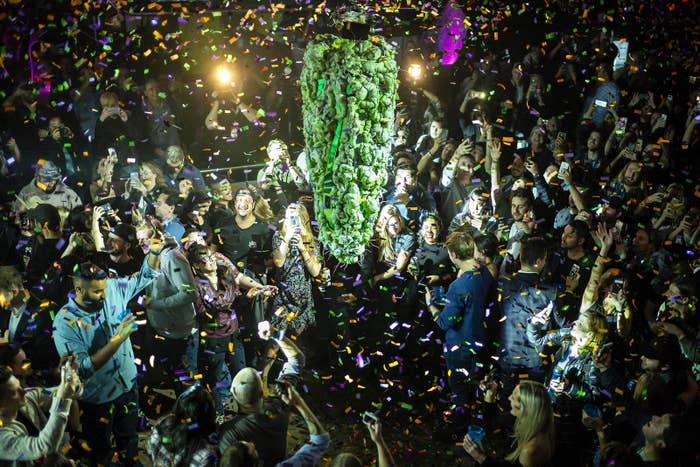"""Torontonians gather at a local concert venue to watch the """"bud drop"""" at the stroke of midnight, in celebration of the legalization of recreational cannabis use on Oct. 17, in Toronto."""
