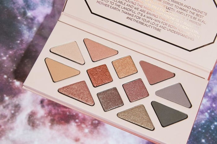 Not only is this gorgeous makeup palate beautiful to look at and made with vegan ingredients, but the entire box is 100% recyclable — the first of its kind in the industry! It's also made with actual crushed up crystals... so yeah, I'm there.