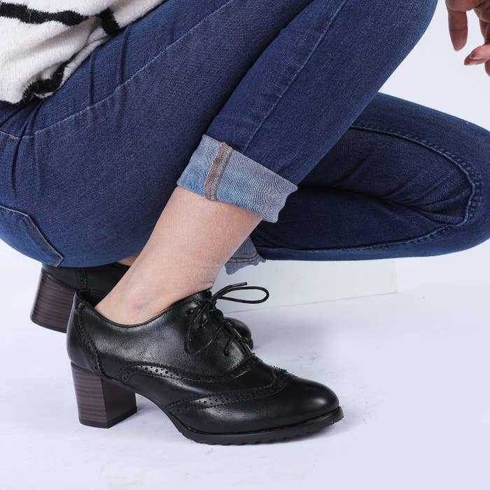 """Promising review: """"These fit as expected with lots of room at the toes. Don't believe for one second these aren't comfy. I'm a hairdresser: I walk and stand over eight hours a day. These are comfortable enough that at the end of my work day, I have zero discomfort or pain. I don't typically ever wear a shoe with a heel, so the fact these cause no pain, have a heel, and all of this with the fact I stand all day is awesome. Would recommend."""" —RuelleGet them from Amazon for $23.99+ (available in sizes 4.5-10.5 and in three colors)."""