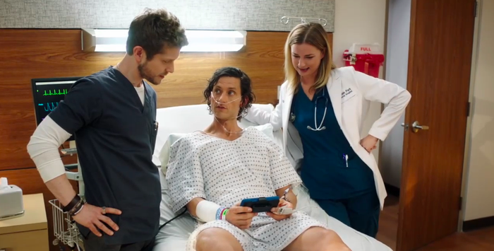 Matt Czuchry, Tanc Sade, and Emily VanCamp on The Resident.