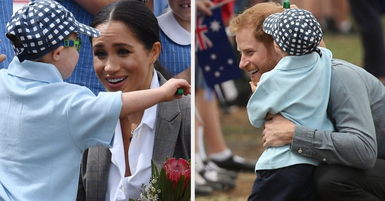 Just Try And Watch This Little Boy Rubbing Prince Harry's Beard And Hugging Megh...