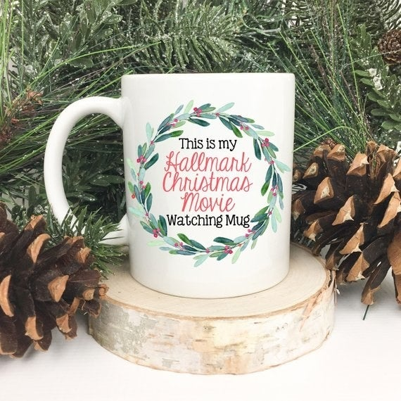 I've been waiting for this glorious moment since January because nothing makes me feel cozier than curling up with coffee and binge watching cheesy holiday movies!!! It's the best, don't fight me on this. Get it from Magnolia Akers on Etsy for $14+ (available in two sizes).