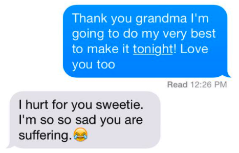 old person using the laughing crying emoji instead of a crying emoji when talking about a grandma