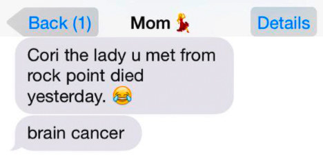 old person using the laughing crying emoji instead of a crying emoji when talking about cancer