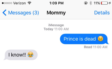 old person using the laughing crying emoji instead of a crying emoji when talking about prince