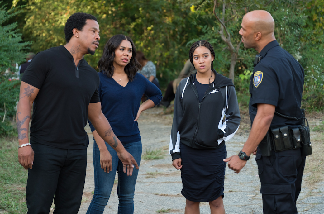 Mav (Russell Hornsby), Lisa (Regina Hall), Starr (Amandla Stenberg), and Carlos (Common) in The Hate U Give.