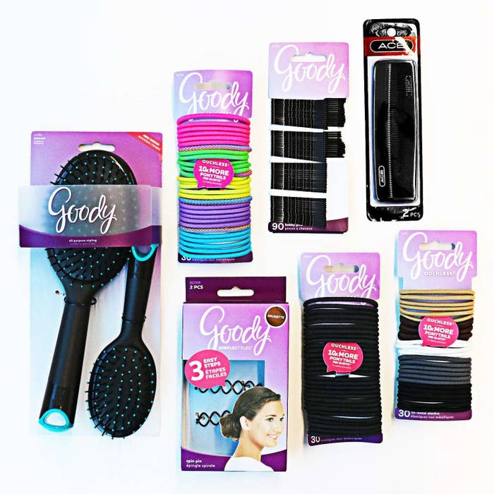 The kit includes 90 hair ties, 90 bobby pins, two combs, a brush, a mini brush and two spin pins. Set. For. Life. (lol jk set for a few weeks.)Get it from Amazon for $25.