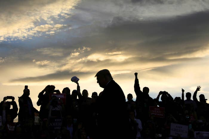 President Donald Trump rallies with supporters at Missoula International Airport in Missoula, Montana, on Oct. 18.