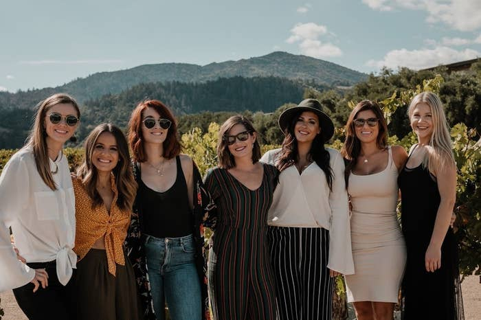 "The group met eight years back, when all seven of them were hired for a job in advertising. ""It was a totally hellish experience and we ended up bonding so that we could make it through the day-to-day craziness,"" Salcedo told BuzzFeed. ""We all quit within two weeks of each other and have been best friends ever since!"""