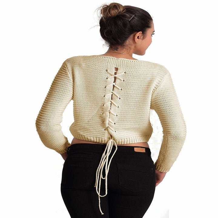 the back of sweater with tie back