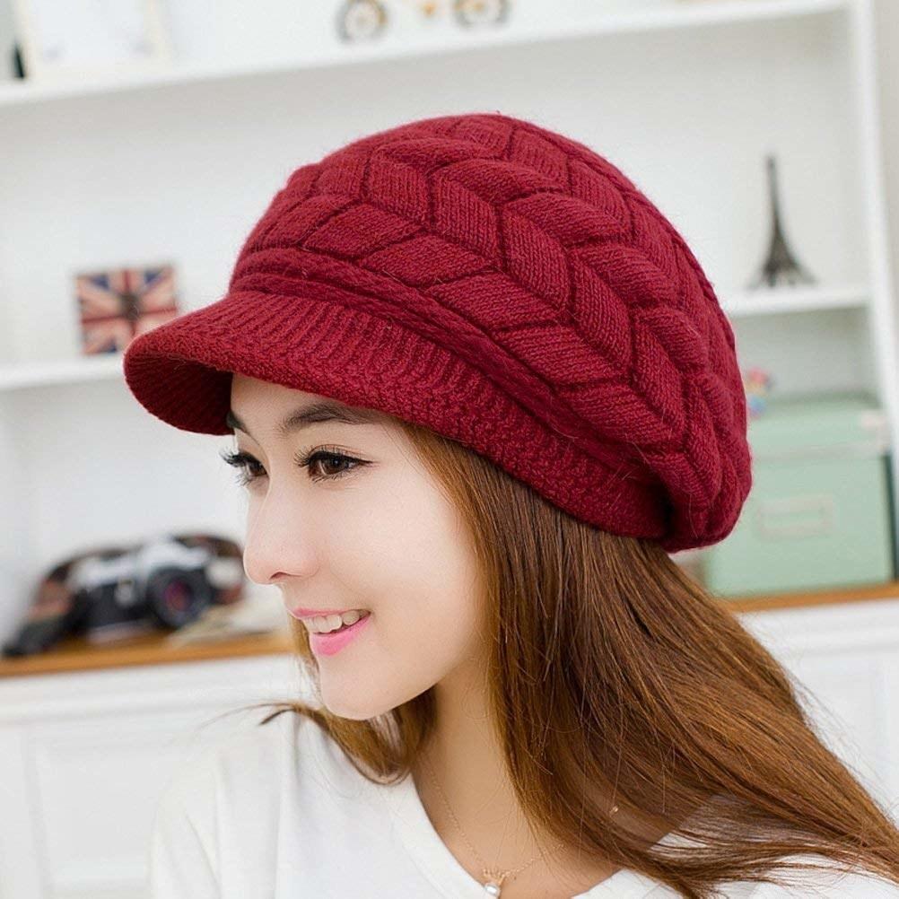 knit oversized beanie with brim